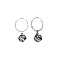 Oxidized Sterling Silver Twisted Knot Earrings in 12MM HOOPS
