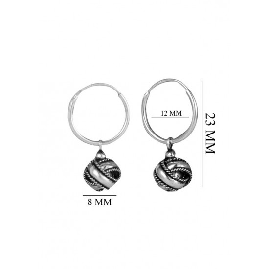 Oxidized Sterling Silver Twisted Knot Earrings in 12MM HOOPS Drop Earrings for Women Stylish Gift for Wife Sister Bhabhi Friend Marriage Anniversary