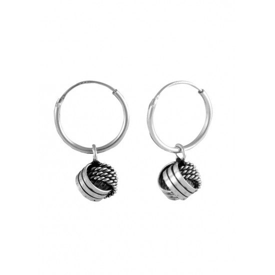 Oxidized Sterling Silver Twisted Knot Drop Earrings in 12MM HOOPS