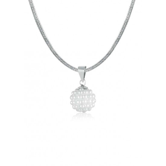 Abhooshan 925 Silver Pendant and Chain with White Pearls