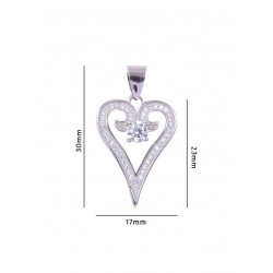 Abhooshan Adorable Heart shaped Cz pendant in 925 Silver