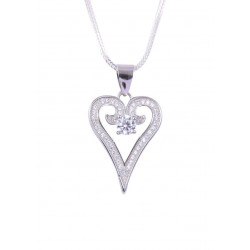 Abhooshan Adorable Heart shaped Cz pendant with Chain in 925 Silver