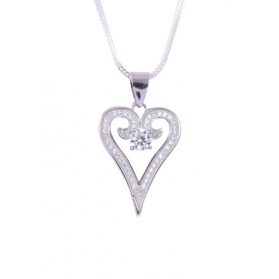92.5 Sterling Silver Heart Shape pendant with CZ Stones and silver chain for Girls and Women. Gift for Mother, Wife, Sister, Bhabhi, Girl friend Marriage Anniversary, Valentine, Birthday