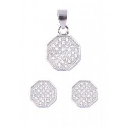 Abhooshan Beautiful Cz Pendant Set in 925 Silver