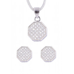 Abhooshan Beautiful Cz Pendant Set with Chain in 925 Silver