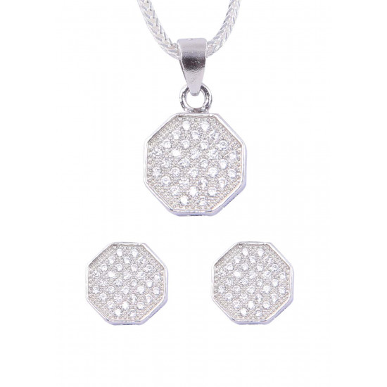 Designer Pure 92.5 Sterling Silver CZ Pendant Set with Chain for Women and Girls. Stylish Latest Gift for Sister, Bhabhi, Mother,Girlfriend,Wife,Colleague Anniversary Birthday Valentine