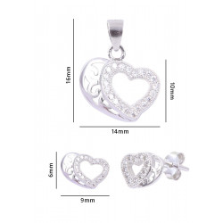 Abhooshan Charming Heart shape Cz Pendant Set in 925 Silver