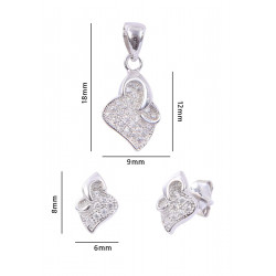 Abhooshan cute and small Cz Pendant Set with Chain in 925 Silver