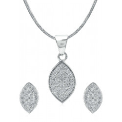 Abhooshan Adorable Cz Pendant Set with Chain in 925 Silver