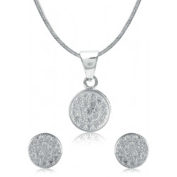 Abhooshan Beautiful and small Cz Pendant Set with Chain in 925 Silver