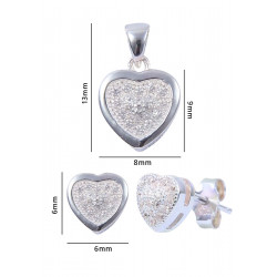 Abhooshan Designer and small heart Shape Cz Pendant Set with Chain in 925 Silver