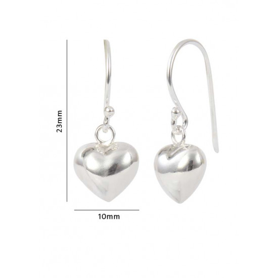92.5 Sterling Silver Hand made Dangler Hanging Heart Earrings for Girls and Women. Best Stylish Latest Birthday Anniversary Gift for Sister Bhabhi Wife Mother Friend