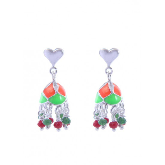 Abhooshan Designer and light weighted Enamel and Crystal Jhumki in 92.5 Sterling Silver