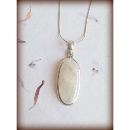 Oval Moonstone Pendant in 92.5 Silver Handcrafted Designer Statement Piece for Men and Women