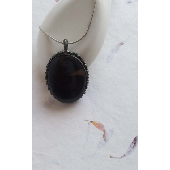 92.5 Silver Pendant with Black Onyx stone for Men and Women