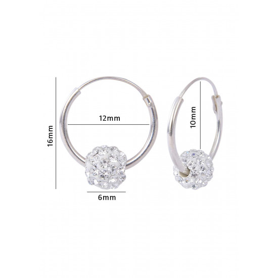 Pure 92.5 Sterling Silver 12 mm Hoop Earring with White Crystals Balls for Girls and Kids. Gift for Children Kids Friends Girls Sister