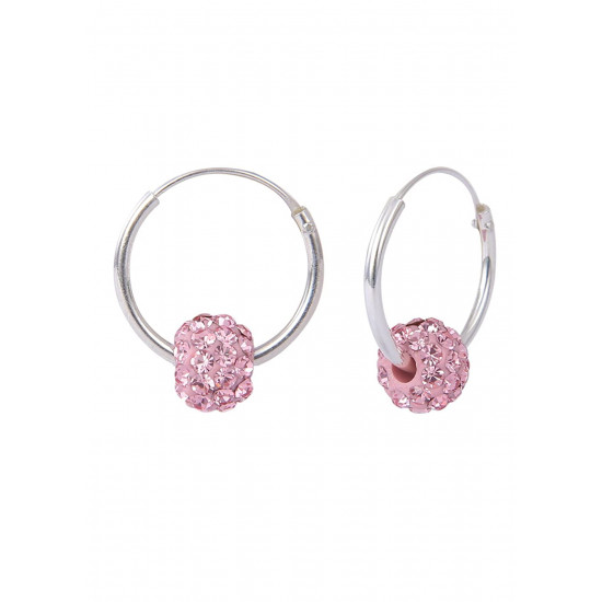 Pure 92.5 Sterling Silver 12 mm Hoop Earring with Pink Crystals Balls for Girls and Kids. Gift for Children Kids Friends Girls Sister