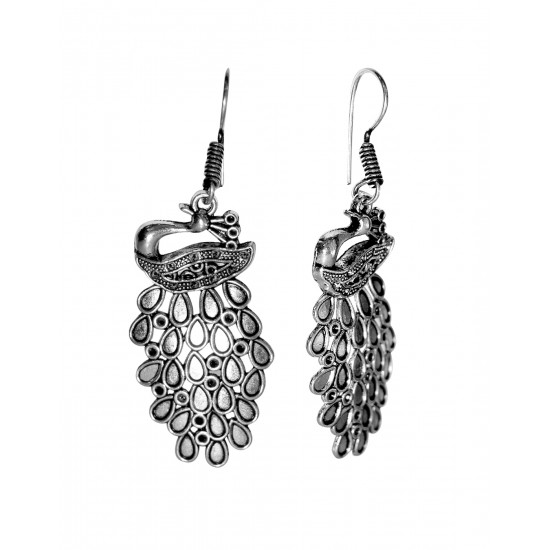 Silver Alloy Chic Pair of Peacock Earrings High Finish for Women and Girls Stylish Latest Anniversary Birthday Gift for Mother Bhabhi Wife Sister Friend