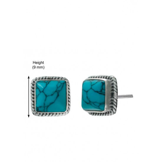 Designer Square Shape Turquoise Studs in Sterling Silver Anniversary Birthday Gift for Friend Girl Sister Wife Mother