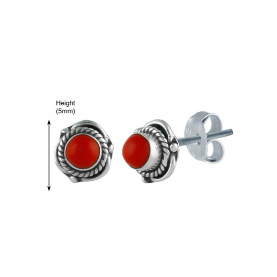 Cute Looking Red Coral Studs 925 Sterling Silver for Girls Kids Jewellery Allergy free Stylish. Gift for Sister Kids Friend Children