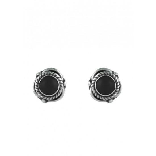 Trendy Black Onyx Studs 925 Sterling Silver for Girls Kids Jewellery Allergy free Stylish. Gift for Sister Kids Friend Children