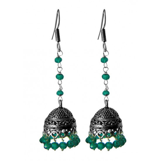 long Jhumkas with green crystals in Silver Alloy High Finish for Women and Girls Stylish Latest Tribal Boho Look Birthday Anniversary Gift for Mother Bhabhi Wife Sister Friend