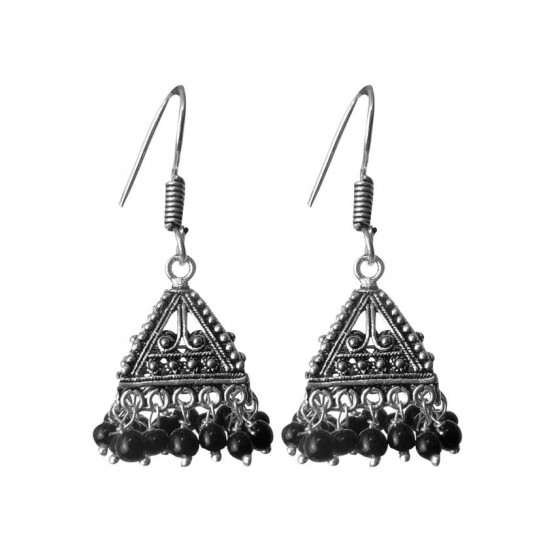 Black Bead Jhumkis in Silver Alloy High Finish for Women and Girls Stylish Latest Tribal Boho Look Birthday Anniversary Gift for Mother Bhabhi Wife Sister Friend