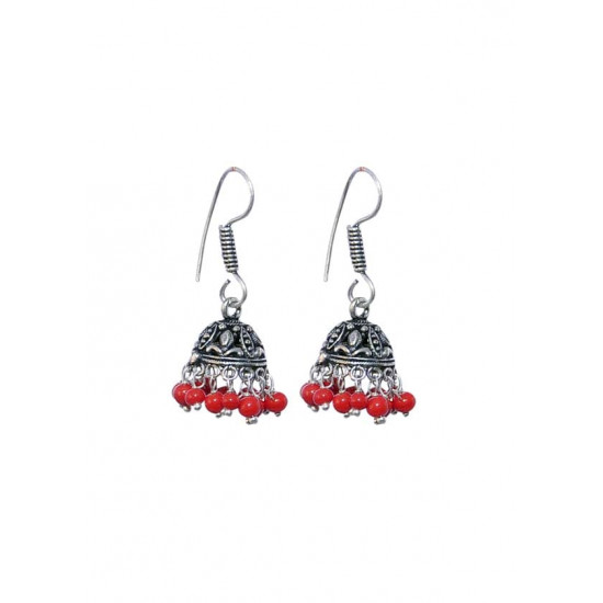 Pair of Designer and traditional Jhumkis with RED colored beads in Silver Alloy High Finish for Women and Girls Stylish Latest Tribal Boho Look Birthday Anniversary Gift for Mother Bhabhi Wife Sister Friend