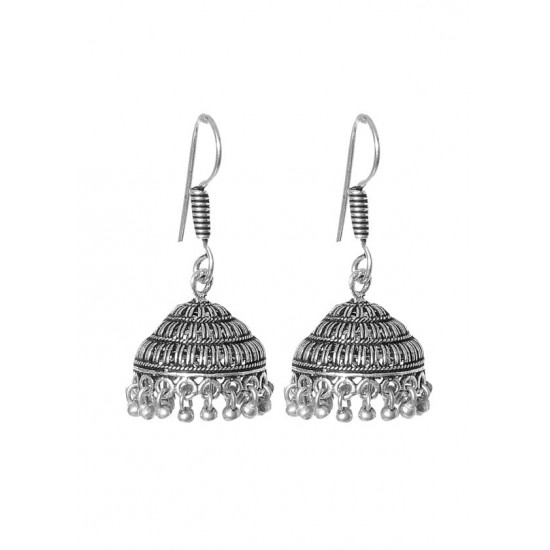 Indian Look Small Jhumkis in Silver Alloy High Finish for Women and Girls Stylish Latest Tribal Boho Look Birthday Anniversary  Gift for Mother Bhabhi Wife Sister Friend