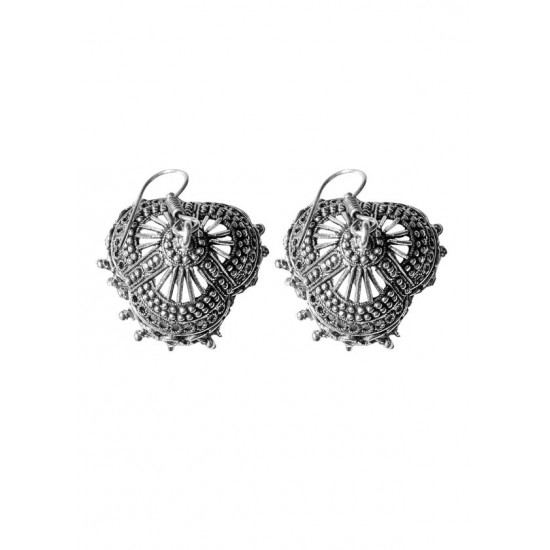 Designer Jhumkas in Silver Alloy High Finish for Women and Girls Stylish Latest Tribal Boho Look Birthday Anniversary  Gift for Mother Bhabhi Wife Sister Friend