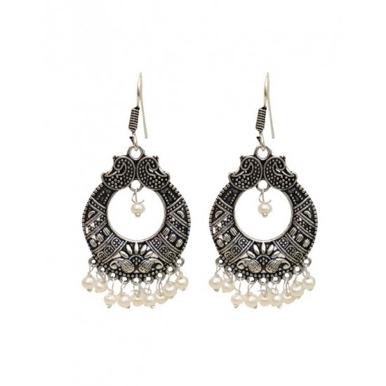 Traditional look Jhumkis in Pearl with Ear Wire in Silver Alloy High Finish for Women and Girls Stylish Latest Tribal Boho Look Birthday Anniversary  Gift for Mother Bhabhi Wife Sister Friend