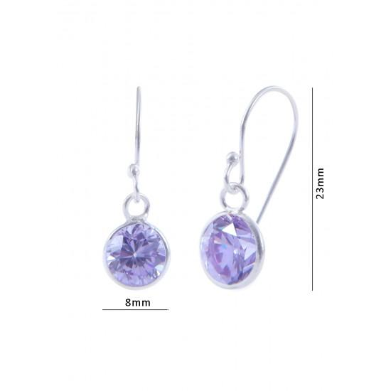 pair of Light Purple Round shape Cz Earring in 925 Silver Ear Wire