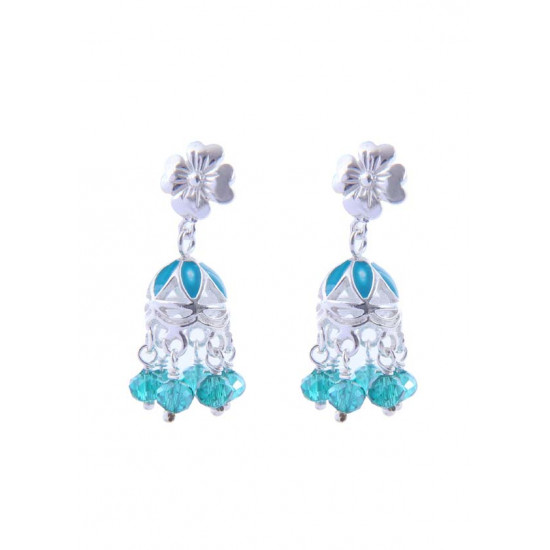 Designer light weighted Aqua Blue Enamel Jhumki in 92.5 Sterling Silver High Finish for Women and Girls Stylish Latest Gift for Birthday Anniversary Mother Bhabhi Wife Sister Friend