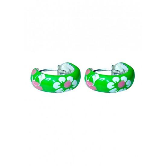 Pure 925 Sterling Silver Cute and Elegant Green Flower Enamel Bali Hoop Earrings Kids Jewellery Allergy free Stylish. Latest Gift for Baby Girls Sister Kids Friend Children Daughter