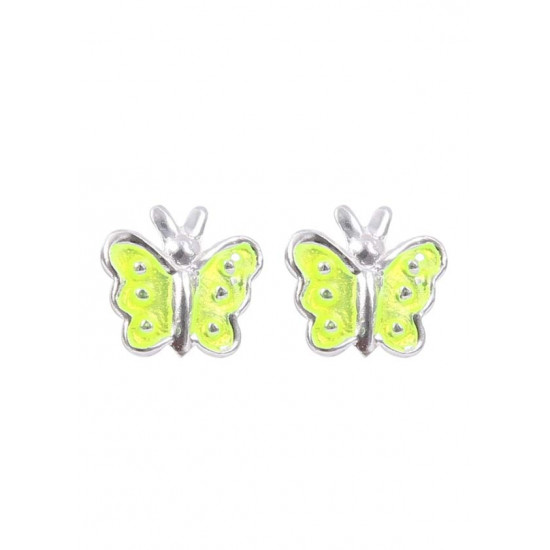 Pure 925 Sterling Silver Cute and Elegant Yellow Enamel Small Butterfly Studs Earrings Kids Jewellery Allergy free Stylish. Latest Gift for Baby Girls Sister Kids Friend Children