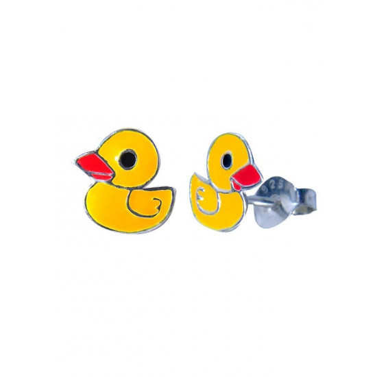 Pure 925 Sterling Silver Cute and Elegant Yellow Duck Studs Earrings Kids Jewellery Allergy free Stylish. Latest Gift for Baby Girls Sister Kids Friend Children