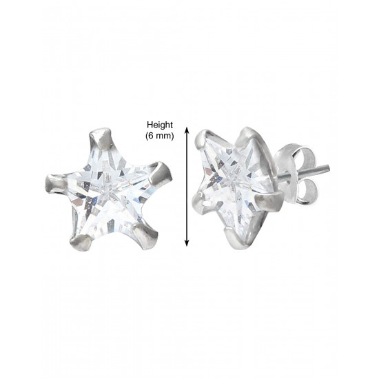 925 Sterling Silver pair of Star shape 6mm Single White Cubic Zircon (CZ) Stone Solitaire Stud Earrings For Women and Girls