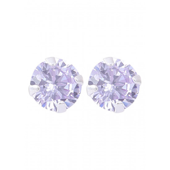 925 Sterling Silver Pair of Round Single Amethyst Light Purple 5mm Stone Piercing Stud Earrings for Women & Girls Stylish Latest Gift to Friend Sister Wife