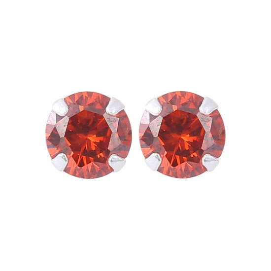 925 Sterling Silver Pair of Round Red 5mm Stone Piercing Stud Earrings for Women & Girls Stylish Latest Gift to Friend Sister Wife