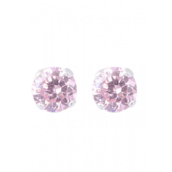 925 Sterling Silver Pair of Round Pink 4 mm Stone Piercing Stud Earrings for Women & Girls Stylish Latest Gift to Friend Sister Wife
