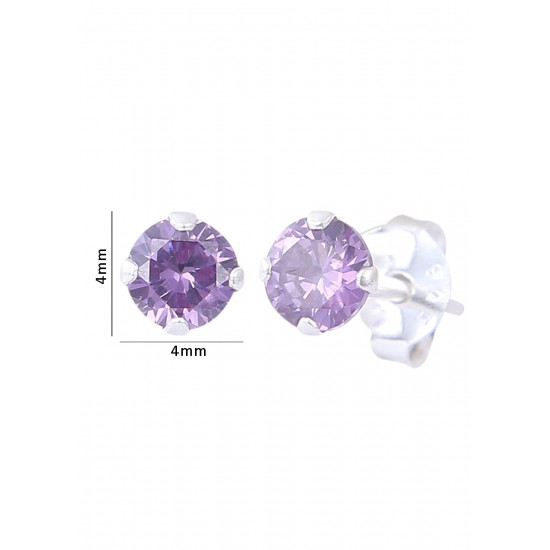 925 Sterling Silver Pair of Round Single Amethyst Light Purple 4mm Stone Piercing Stud Earrings for Women & Girls Stylish Latest Gift to Friend Sister Wife