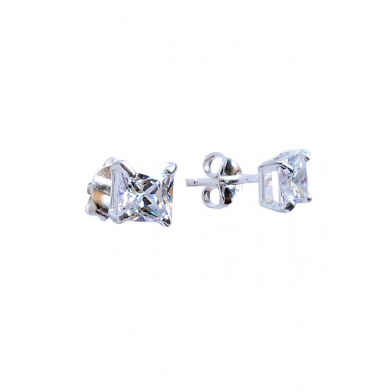 925 Sterling Silver pair of Square shape 5mm Single White Cubic Zircon (CZ) Stone Solitaire Stud Earrings For Men, Women,Girls & Boys