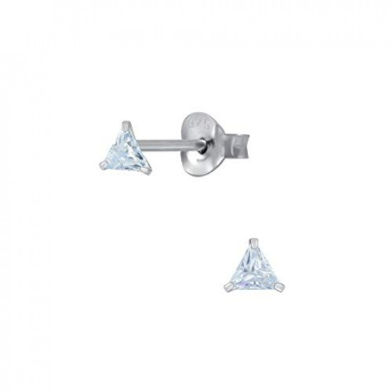 925 Sterling Silver pair of Triangle shape 3mm White Cubic Zircon (CZ) Stone Solitaire Stud Earrings For Women and Girls