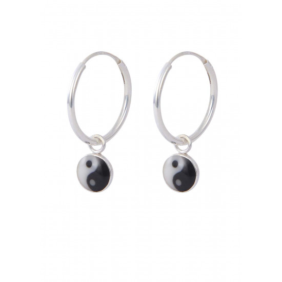 92.5 Sterling Silver 14 mm Hoops with Yin Yang Design for Women and Girls. Gift for Children Kids Friends Girls Sister Wife