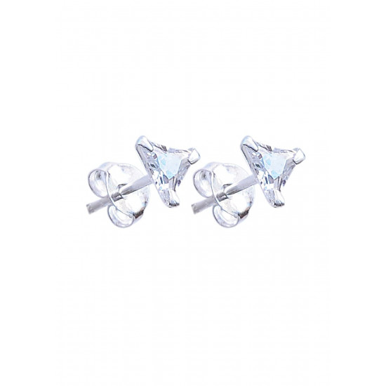925 Sterling Silver pair of Triangle shape 6mm White Cubic Zircon (CZ) Stone Solitaire Stud Earrings For Women and Girls