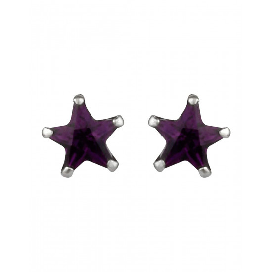 925 Sterling Silver pair of Star shape 6mm Purple Cubic Zircon (CZ) Stone Solitaire Stud Earrings For Women and Girls
