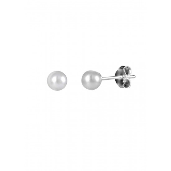 Sterling silver 4mm very small round Pearl stud for Baby Girls and Girls. Birthday Gift to young girls, Sister, Friend