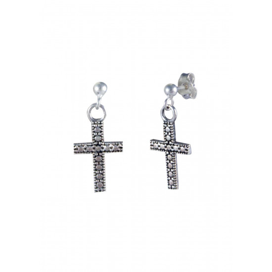 Unisex Ball Studs with hanging Holy Cross in Sterling Silver FOR MEN, WOMEN,GIRLS & BOYS