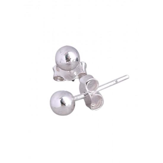 925 STERLING SILVER PAIR OF ROUND SHAPE 5MM HOLLOW BALL STUD EARRINGS FOR MEN, WOMEN,GIRLS & BOYS