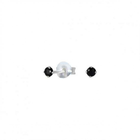 925 Sterling Silver pair of Round shape 2mm Single Black Cubic Zircon (CZ) Stone Solitaire Stud Earrings For Men, Women, Girls & Boys